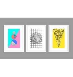 Abstract wall art poster set in memphis style with vector