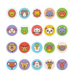 Animals face avatar icons 1 vector