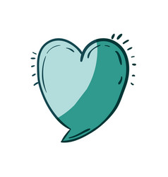 Aquamarine hand drawn of speech in form of heart vector