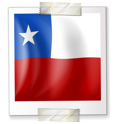 Badge design for chile flag in square shape vector