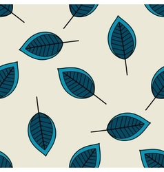 Blue scattered leaves seamless pattern vector