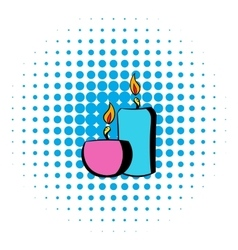 Burning candles icon comics style vector
