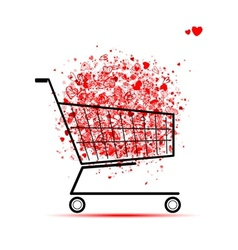 Cloud of hearts in shopping cart for your design vector image vector image