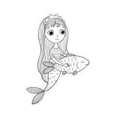 cute cartoon mermaid and fish siren sea theme vector image