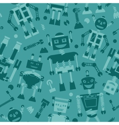 Cute retro robots silhouette background vector image