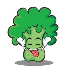 ecstatic broccoli chracter cartoon style vector image
