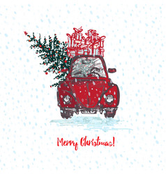 festive christmas card red car with fir tree vector image vector image