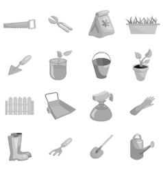 Gardening icons set black monochrome style vector image