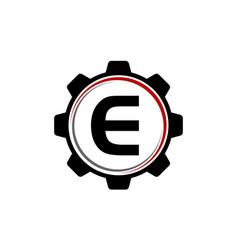 Gear solution logo letter e vector