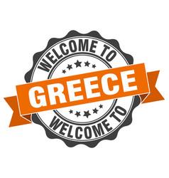 Greece round ribbon seal vector