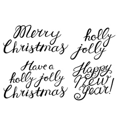 Hand drawn cristmas lettering set vector