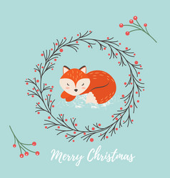 holiday greeting card with cute fox vector image
