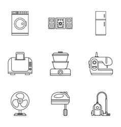 Home electronics icons set outline style vector