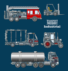 industrial transport with details and parts poster vector image vector image