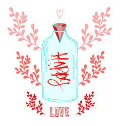 Jar of love with creative lettering happy cute vector