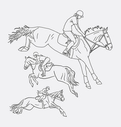Jockey riding horse sport sketches vector