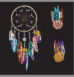 luxary ornate dreamcatcher with feathers vector image vector image