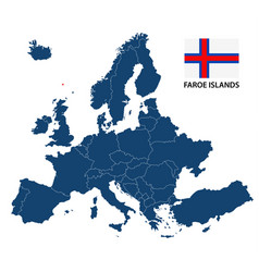 map of europe with highlighted faroe islands vector image vector image