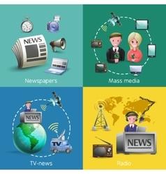 Mass media 2x2 images set vector