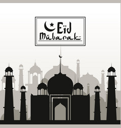 Monochrome background with silhouette eid mubarak vector