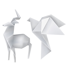 Origami deer dove vector