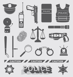 Police Officer and Detective Icons vector image vector image
