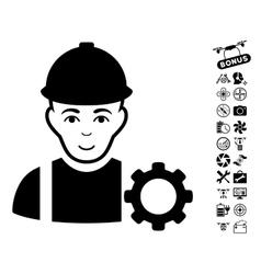 Repairman icon with air drone tools bonus vector