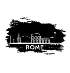 Rome skyline silhouette hand drawn sketch vector