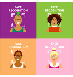 Set of face recognition icons biometric scanning vector