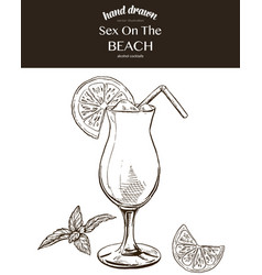Sex on the beach sketch vector