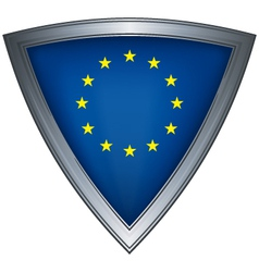 steel shield with flag european union vector image vector image
