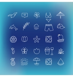 Summer icon set hand drawn design element vector image vector image
