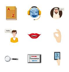 Translation of language icons set cartoon style vector