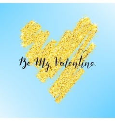 Valentines day greeting on gold heart vector