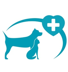 Veterinary symbol with dog cat on white background vector