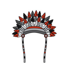 War bonnet bird feather hat traditional native vector