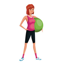woman sports training fitball vector image vector image