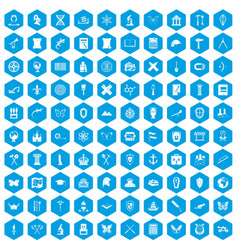100 archeology icons set blue vector