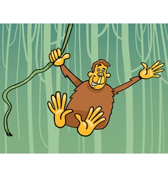 Ape in the jungle cartoon vector