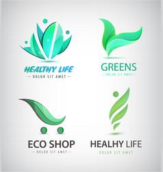 Set of eco organic food healthy lifestyle vector