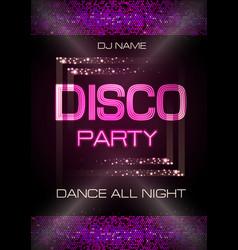 Neon sign disco party poster vector