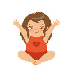 Cute baby girl sitting with arms raised colorful vector