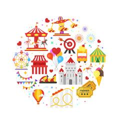 Round composition of amusement park symbols vector