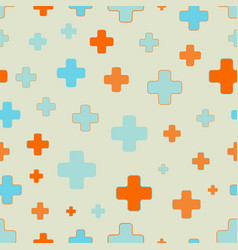 Seamless pattern of plus signs scattered vector