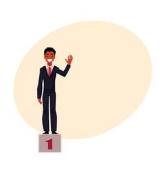 Black african american businessman on pedestal vector