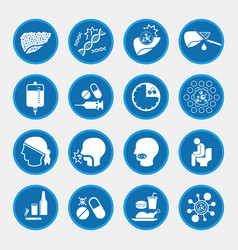 liver cancer cause and treatment icons vector image