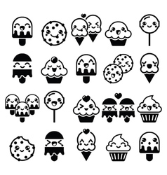 Cute kawaii food characters - cupcake ice-cream vector