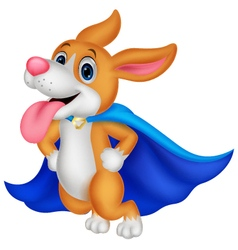 Cartoon super hero dog flying vector