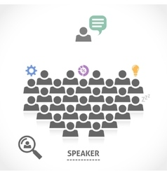 Speaker reads a lecture to an audience vector image