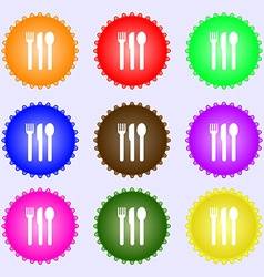 Fork knife spoon icon sign a set of nine different vector